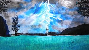 Lightning by the Meadow!! by Narmadha