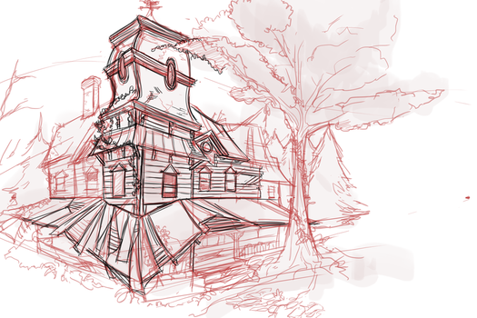 Abandoned House Sketch by Megnarr