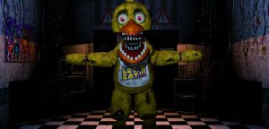 Fnaf/Sfm] Withered Chica in office by Kameron-Haru