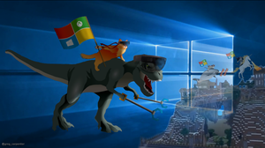 Windows 10 T-Rex and Ninja Cat by KrokoZero