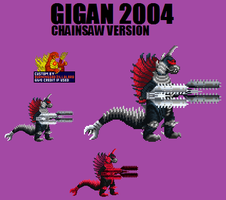 Gigan 2004 Chainsaw Version Custom Sprite by Burninggodzillalord