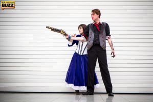 Elizabeth and Booker - Bioshock Infinite by Paper-Cube