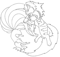 Ninetales and Arcanine -LINE- by TheRaineDrop