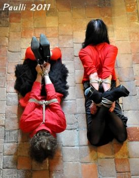 Black and red. Double hogtied with Karen Chessman1 by sophiatgbdsm