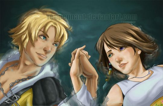 Tidus x Yuna: Night Swimming by redpennant