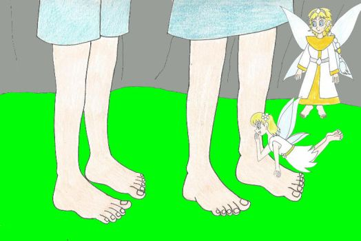 Goldine and Treeleaf admire Ali and Cera's feet by Animedalek1