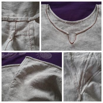 Hand Sewn Viking Age Underdress Hemmings and Seams by AlexandraSpruit