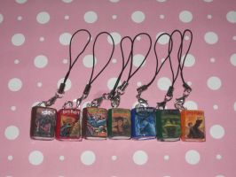 Harry Potter Book Series Cell Phone Charms by ichigoluv
