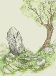 Stone and Tree (some traditional practise) by The13thCat