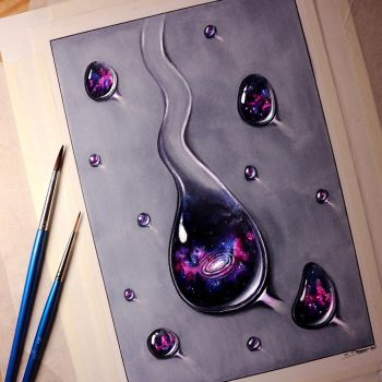 Galaxy Water Drops - Painting by LethalChris
