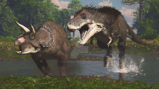 Tyrannosaurus and Juvenile Triceratops by PaleoGuy