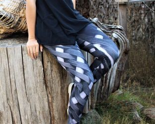 Black and White Weaving Redbubble Leggings by WeepingGrove