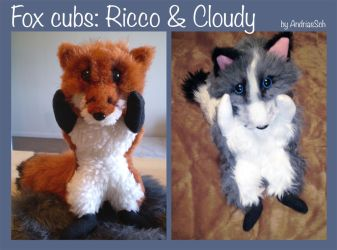 Fox Cub plush, red and arctic by JoshikoseiSnak