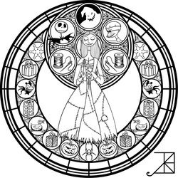 Stained Glass: Sally: Remastered -line art- by Akili-Amethyst