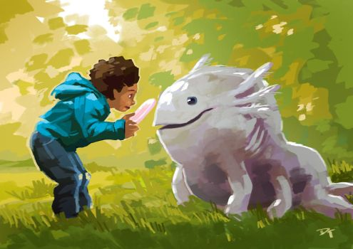 A boy and his pet by tohdraws