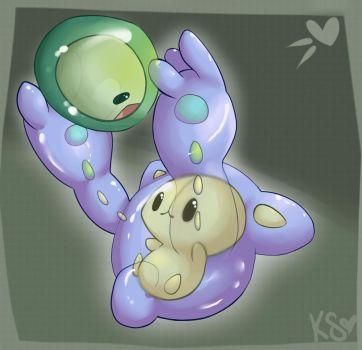 Solosis + Reuniclus by kittenspore