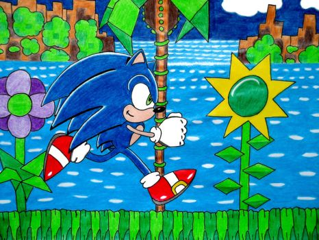 Sonic in Green Hill Zone by UltimateFrieza