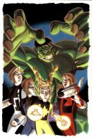Hulk and PowerPack cover by BroHawk
