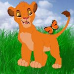 simba looking at a butterfly by magikwolf