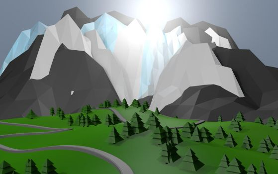 Low-Poly Mountains Wallpaper by AH Productuon by AvoJFB