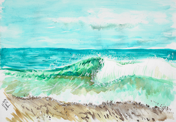 July watercolor wave painting by SulaimanDoodle