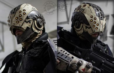 The Enforcer - Cyberpunk tactical LED Helmet by TwoHornsUnited