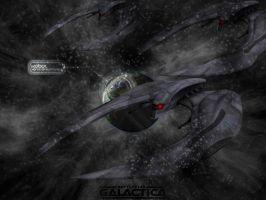 Cylons Over Kobol by QuikFox