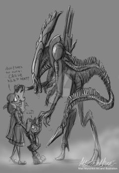 Mad Munchkin and Mary Sue meet the Alien Queen by Mad--Munchkin
