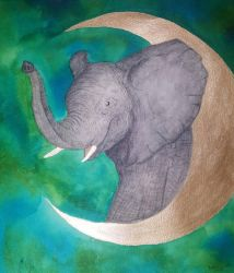 Elephant in the moon by CaptainBeth