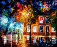 Sleepy town by Leonid Afremov by Leonidafremov