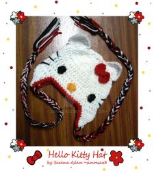Crochet: Hello Kitty hat by simonsaz3