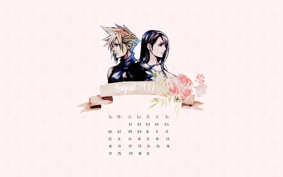 Cloud and Tifa Desktop Wallpaper [ August 2017] by tinystrawberry
