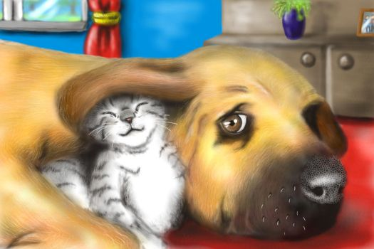 dog and kitty by M2Art