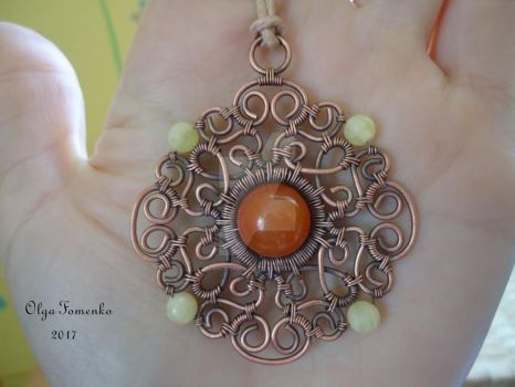 copper pendant with carnelian and amber by olga-fomenko