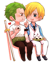 Zoro and Sanji enjoy onigiri by Yuushishio