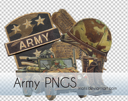 6 Vintage Army PNG's by iRiots