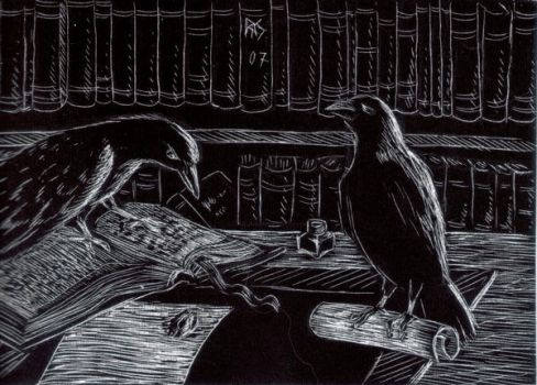 Ravens and Books by robertsloan2