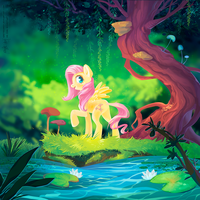 Fluttershy in the Forest [+ animated version] by greyredroy