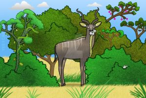 Kudu Munching by SeanDrawn