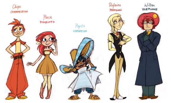 Team Fire Red Gijinka by french-teapot