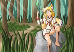 Kitsune Elise in the forest by Sir-Raymond2k3