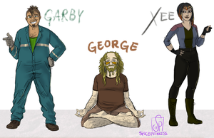 Human!DinoTrux - Garby, George, and Xee by SpicePrincess