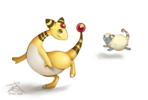 Ampharos and Mareep by xelanelho