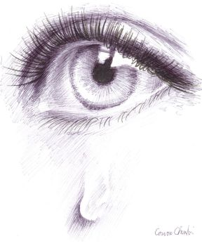Tears ball point pen drawing by CORinAZONe