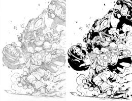 Joe Mad's Battle Chasers pencils  my inks by JoeyVazquez