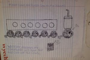 Minion Cows and Queen Cow as my slaves Drawing by Mario1998