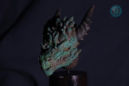 Rocky dragon bust   front view by AntonioBalicevic