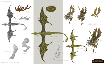 Total War: Warhammer Concept Art - Forest Dragon3 by telthona