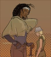 Michonne and Andrea by Algesiras