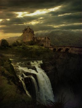 Castle and Falls by kuzy62